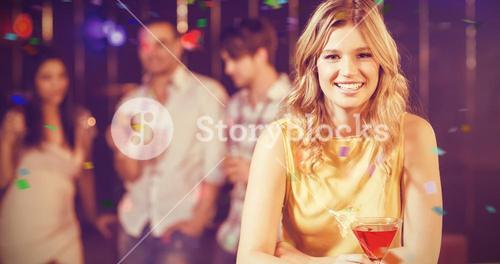 Composite image of portrait of pretty woman with cocktail