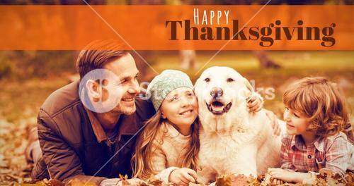 Composite image of digitally generated image of happy thanksgiving text