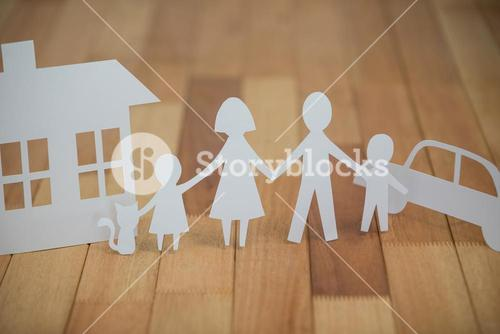 Paper cutout family with house and car