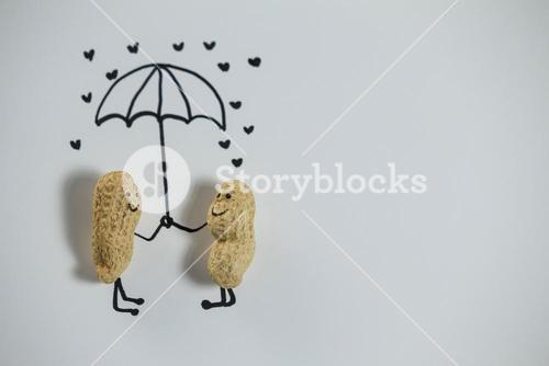 Conceptual image peanut figurine couple standing under umbrella
