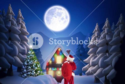 Santa claus standing outside the house