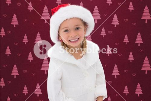Portrait of girl in santa hat during christmas time