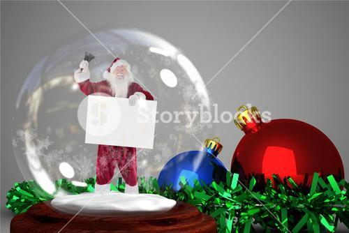 Christmas decoration with santa claus figurine in crystal ball