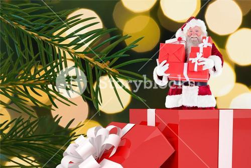 Santa claus figurine with christmas gifts