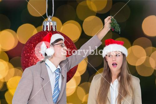 Couple having fun during christmas time