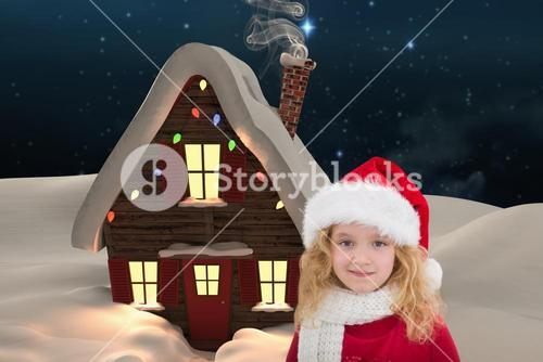 Girl in santa costume against digitally generated background