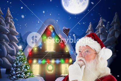 Thoughtful santa claus against digitally generated background