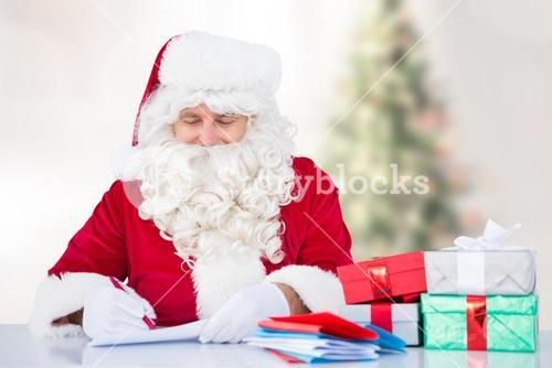 Santa claus writing a letter
