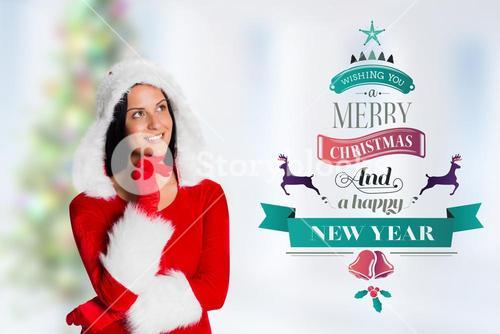 Thoughtful woman in santa costume with hand on chin