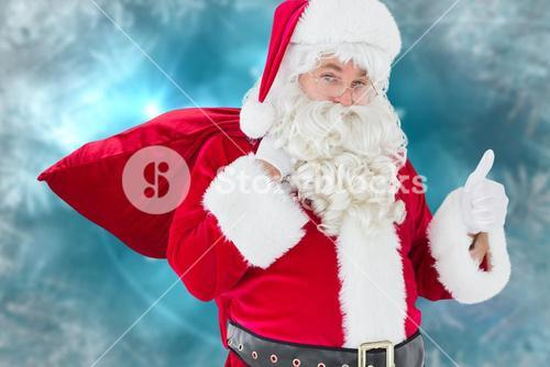Santa clause walking with sack and bell against christmas background