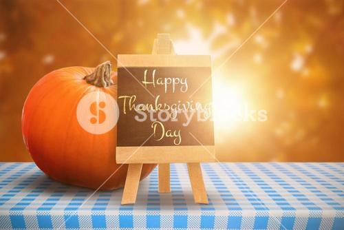Composite image of happy thanksgiving day greeting in capital letters