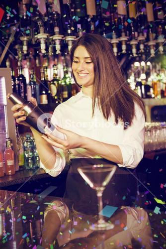 Composite image of female bartender mixing cocktail drink in cocktail shaker
