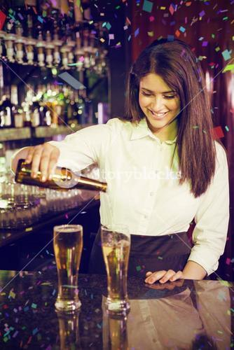 Composite image of female bartender pouring beer into glasses