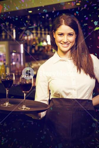 Composite image of portrait of pretty waitress serving red wine