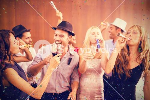 Composite image of cheerful friends having fun