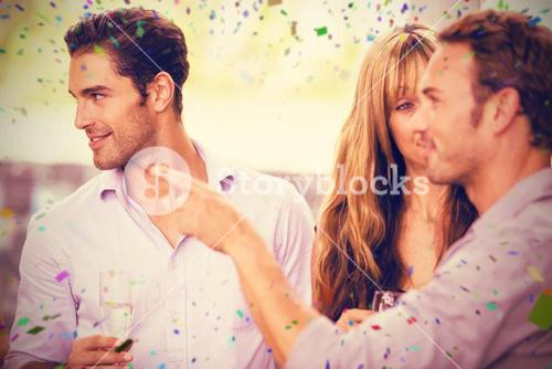 Composite image of friends having champagne while talking to each other