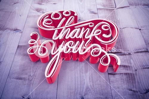 Composite image of illustration of of thank you text