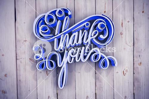 Composite image of digitally generated image of thank you text over white screen