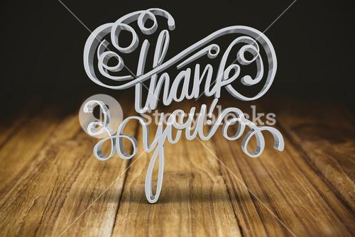 Composite image of three dimensional of thank you text