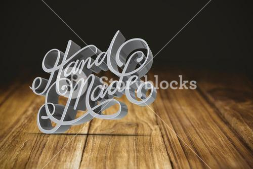 Composite image of hand made text against white screen