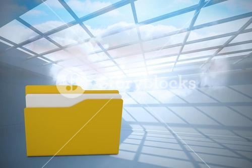 Composite image of digital image of yellow folder with paper