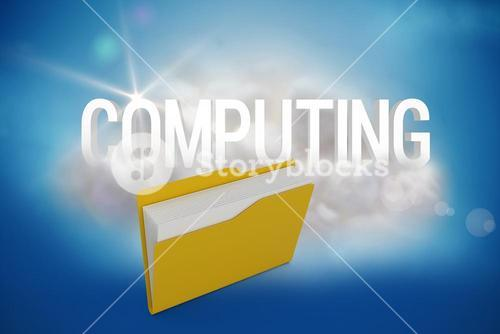 Composite image of digital image of yellow folder with document