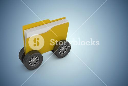 Composite image of illustration of folder with wheels
