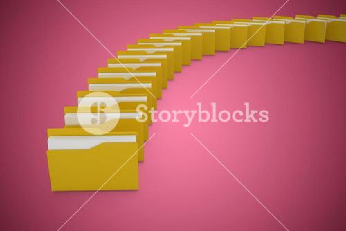 Composite image of illustration of yellow folders