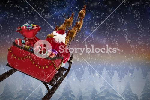 Composite image of high angle view of santa claus riding on sled during christmas