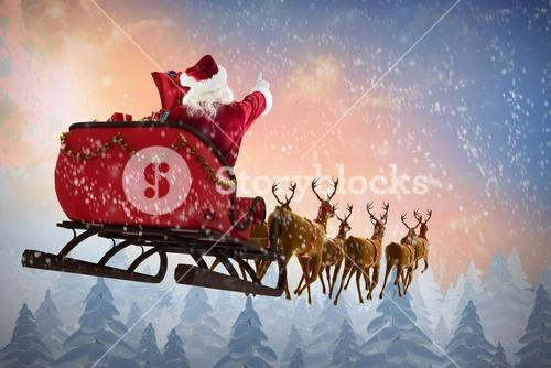 Composite image of santa claus riding on sleigh during christmas
