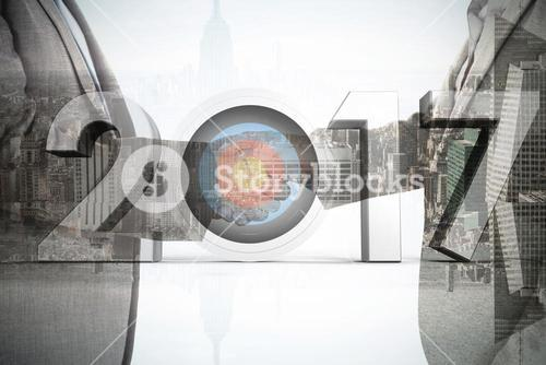 Composite image of composite image of number with sports target