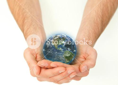 Masculine hands holding a planet globe