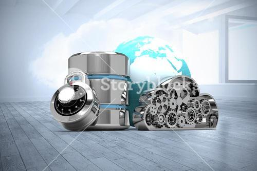 Composite image of database server icon with metallic cloud and combination lock