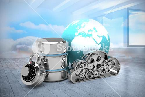 Composite image of database server icon with combination lock and metallic cloud
