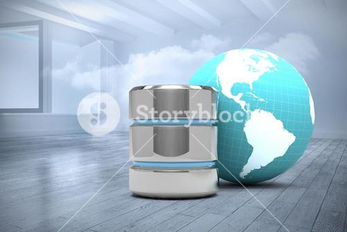 Composite image of database server icon with earth