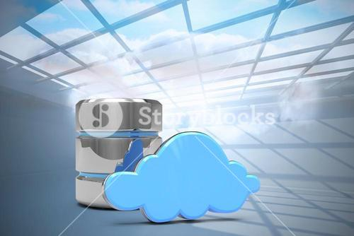 Composite image of database server icon with cloud
