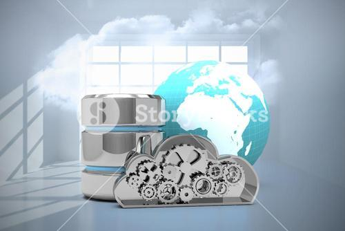 Composite image of database server icon with metallic cloud and earth