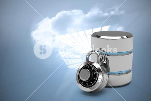 Composite image of database server icon with combination lock