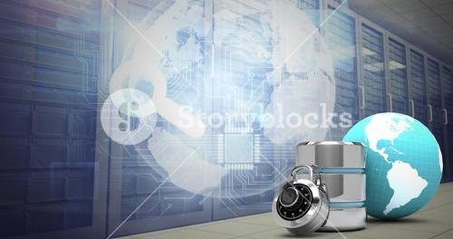 Composite image of database server icon with lock and earth