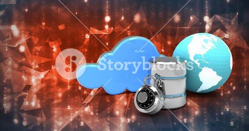 Composite image of database server icon with combination lock and globe