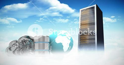 Composite image of database server icon with mechanical cloud and earth