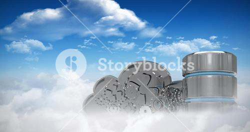 Composite image of hard drive symbol with mechanical cloud