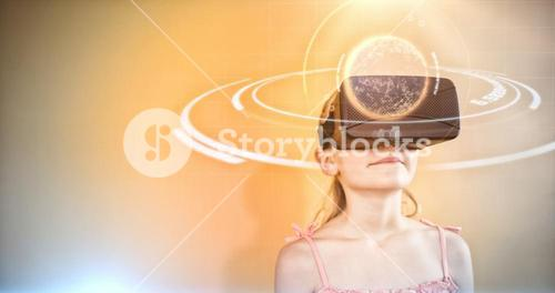 Composite image of digital image of globe with light trail
