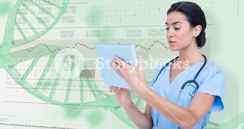 Composite image of female doctor using digital tablet