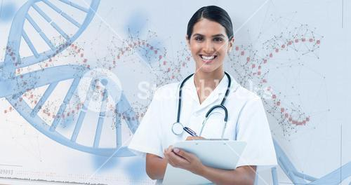 Composite image of happy female doctor writing on clipboard