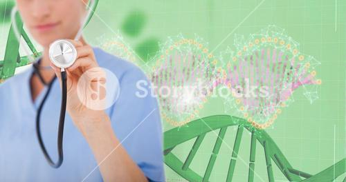 Composite image of doctor listening with stethoscope