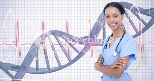 Composite image of smiling  doctor with stethoscope