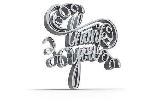 Illustration of  thank you text over white screen