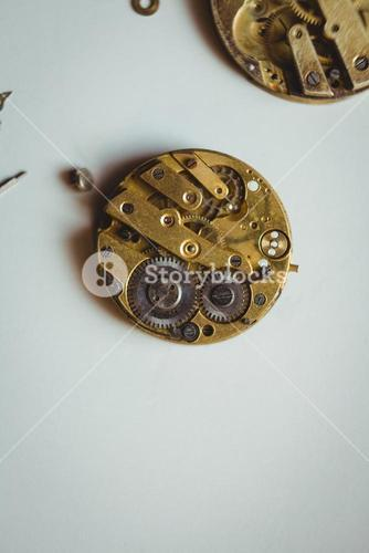 Clocks part on table