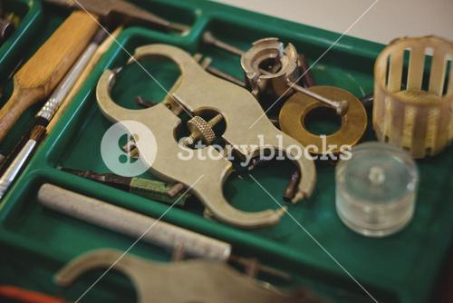 Horologists workshop with clock repairing tools